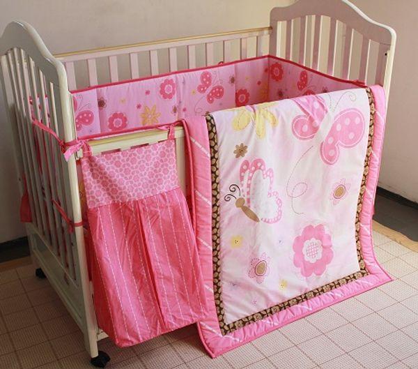 8Pcs Baby bedding set Crib bedding set Embroidered pink butterfly Cot Bedding set Quilt Bumper Mattress Cover BedSkirt Urinebag