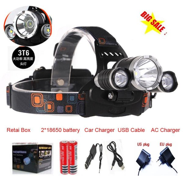 Free Shipping 2016 New Arrival 3x CREE XM-L XML T6 LED 5000Lm 3T6 Rechargeable Headlamp Head light + Battery + Charger + Car Charger+USB Cab
