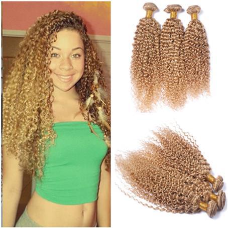 Virgin Peruvian Honey Blonde Human Hair Extensions Kinky Curly 3Pcs Lot Strawberry Blonde Virgin Remy Human Hair Weave Bundles Double Wefts