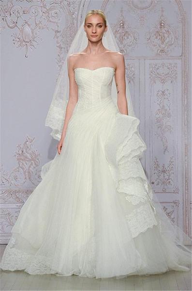 Discount Romantic Monique Lhuillier Wedding Dresses 2016 A Line ...
