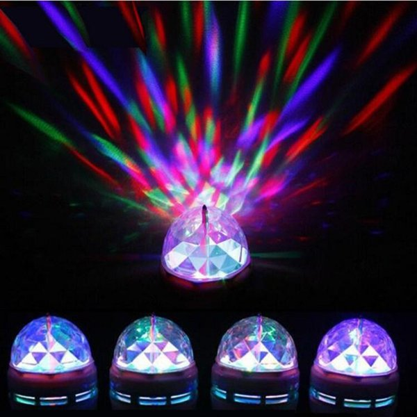 Brand new Crystal Magic Ball Effect Stage Lights Led E27 3W RGB Rotating Lamp For Party Disco DJ Bar free shipping