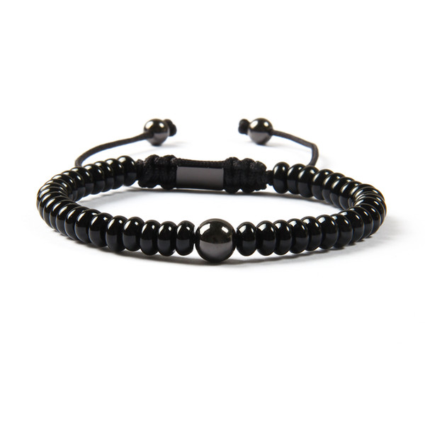 Wholesale Black Jewelry New Arrival Natural Flat Black Onyx Stone With 8mm Brass Beads Macrame Bracelet For Men