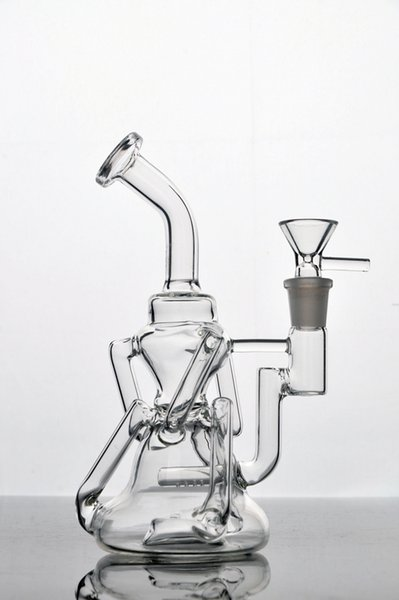 Hybrid Recyclers Water Pipes with inline diffuser two function Glass Bongs oil rig with 14 mm joint