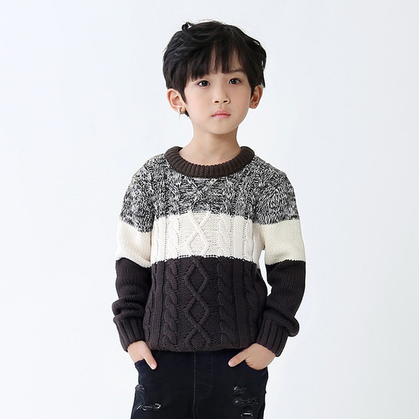 Wholesalers 2017 autumn winter kids clothing new arrival big boys pullover knitted sweaters patchwork knitwear 110-150cm