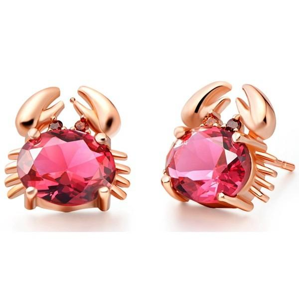 top popular Lovely 18K Rose Gold Plated Ruby Amethyst Blue Crystal Crab Stud Earrings Jewelry for Children Girls Baby Kids 2019