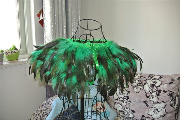 3 ply green feather Collar Shrug Cape feather shawl feather shoulder feather jacket feather clothing patry cotume