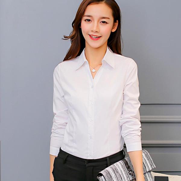 2017 donne del partito Club camicette Moda manica lunga pulsante poliestere bella camicetta bianca brillante tasche lavoro camicia affari