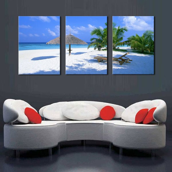 Coconut Tree on Sea Beach Seascape Painting Canvas Prints Wall Art Decor 3 Panel on Canvas Ready to Hang for Home Office Decoration