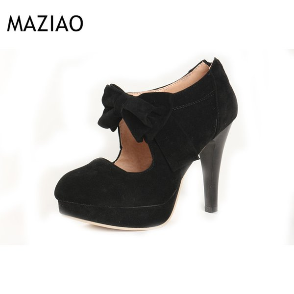 New Plus size 32-43 fashion vintage woman small bowtie platform pumps ladies sexy high heels shoes for women wedding shoes