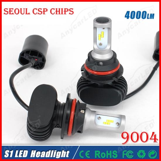 2016 NEW 1 Set S1 9004 HB1 40W 8000LM LED Headlight System Kit Seoul CSP Chip 24SMD High/Low Dual Beam Driving Headlamp Bulb Replac HID Halo