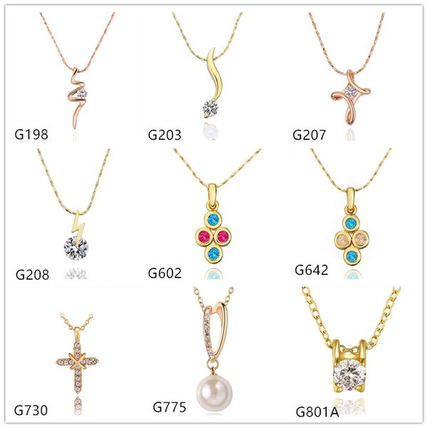 Pearl cross 18k yellow gold necklace(with chain) EMMG11,fashion women's crystal gemstone gold pendant necklace 10 pieces a lot mixed style