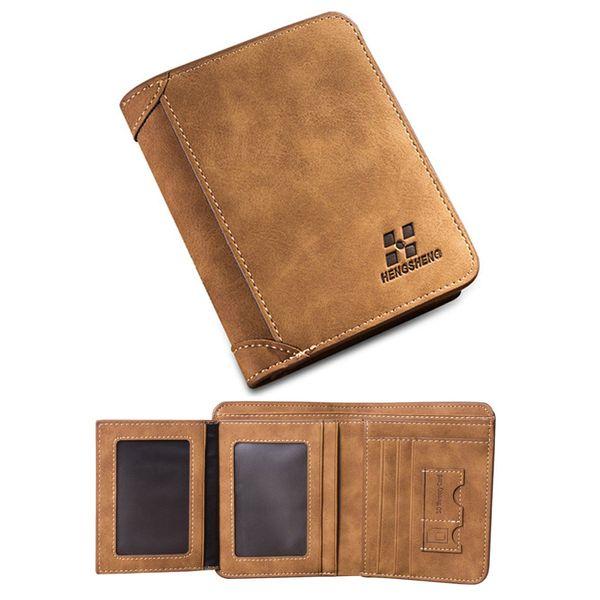 Vintage Designer Men Wallet Bifold Matte Leather Wallets Mens Small Trifold Purse Card Holder Money Bag Business Brand Wallet For Men 1133