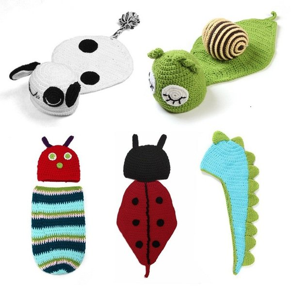 5 style in 1 set Infant Photo Props Funny Crochet Knit Newborn Baby Photography Props Photo Costume Snail Sheep Dinosaur Hat