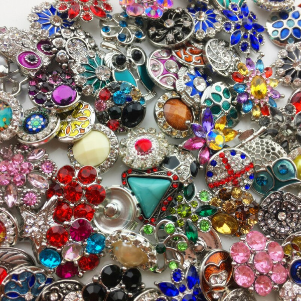 top popular Wholesale 18MM Ginger Snap Button Rhinestone Mixed Style Fit For Noosa Leather Bracelets Necklace Jewelry DIY Accessories 2019