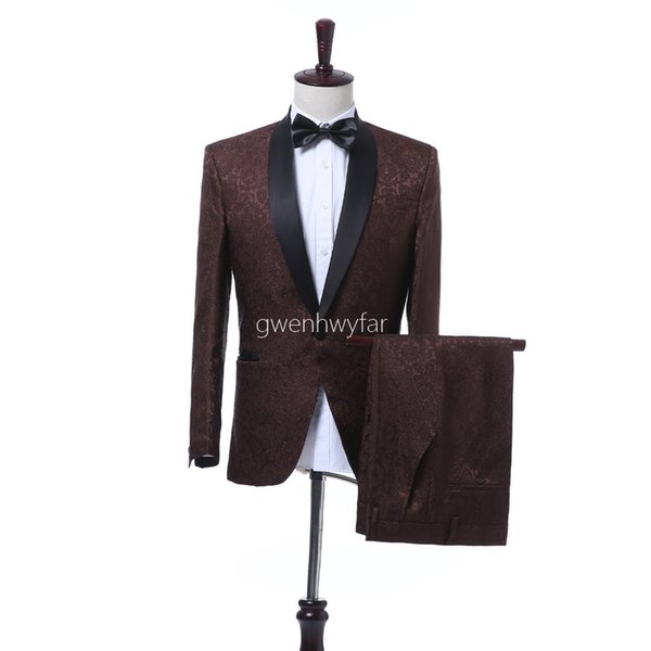 New Design Men Suits Groom Tuxedos Best Man Wedding Suits Men Party Prom Suits Custom Made Shawl Lapel Tuxedos (Jacket+Pants)