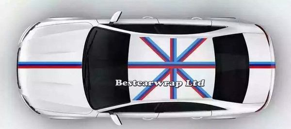 2019 Blue White Red Flag Hood Stripes Car Stickers Decal For