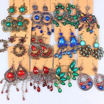 Mezcle los pendientes étnicos de Boho vintage resina galzed de diamante borla larga declaración cuelgue bronce gancho de oreja para las mujeres Joyería de moda a granel