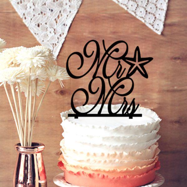 Monogram Wedding Cake Topper, Cursive Mr and Mrs Starfish Beach Nautical Wedding Cake Topper, Chic Words Cake Topper