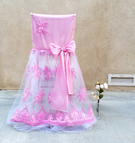 2016 Lace Bow Wedding Chair Telai Vintage Romantic Tulle Chair Covers Floral Wedding Supplies Accessori da sposa di lusso 02