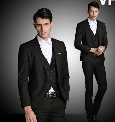 Custom Made Men's Wool Blended Wedding Suits Groom Tuxedos Black Business Suits 3 Piece Suit(Jacket+Pants+Vest)