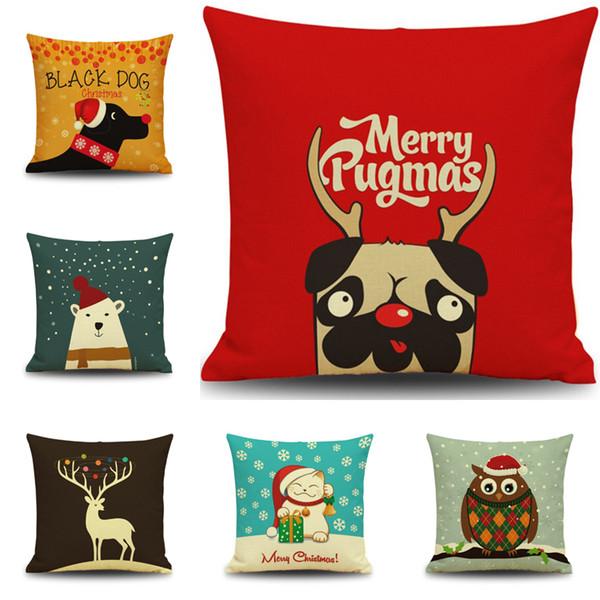 Weihnachten Neujahr Geschenk Kissenbezug Cute Puppy Kissenbezug Weihnachten Mops Hund Katze Eule Rentier Kissenbezug Home Decor Kissenbezüge