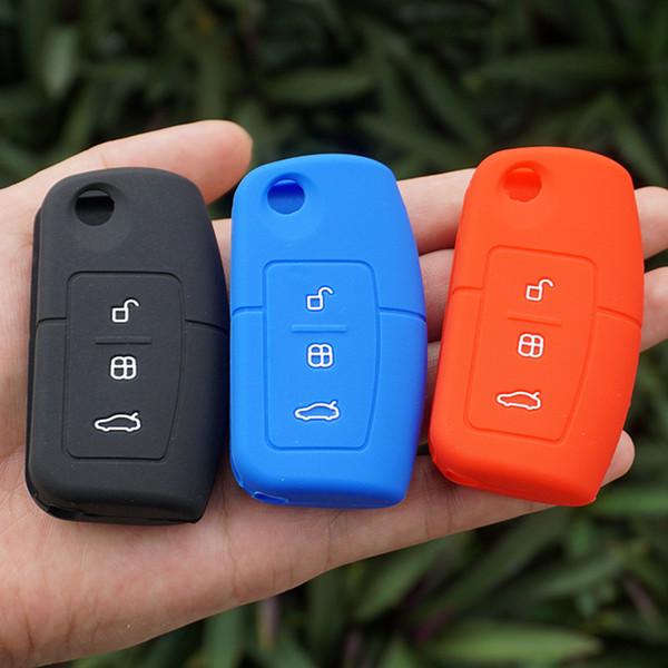 Silicone protecteur Sac 3 boutons flip clés de voiture cas de couverture à distance Shell Pour Ford Fiesta Mondeo Mise au point Ecosport Kuga