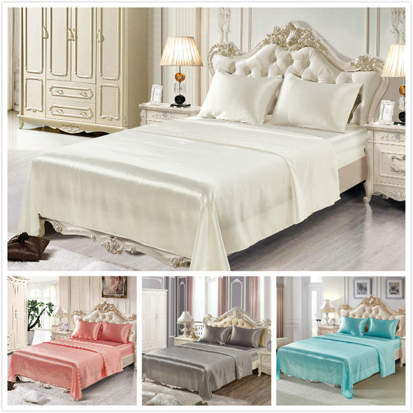 Silk bedding set artificial silk sheet sets in 7 solid colors flat sheet fitted sheet and pillow cases free shipping
