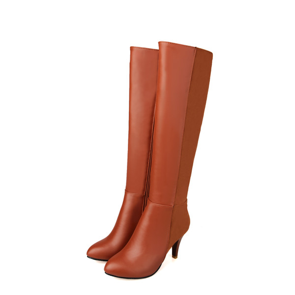 New Hot Fashion Women's Patchwork Synthetic Leather Shoes Ladies Sexy High Heel Zipper Knee Boots B281 Black,Brown,Beige