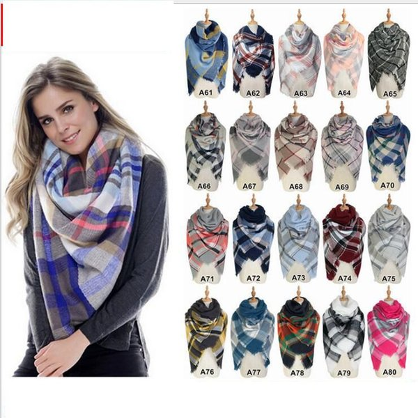 Schals Plaid Decke Schal Frauen Tartan Quasten Schal Grid Schal Wrap Lattice Halstuch Cashmere Schalldämpfer Winter Check Schal KKA2768