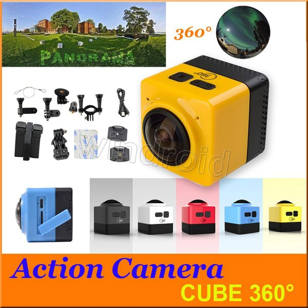 Panoramic CUBE 360 Mini Sports Action Camera 360° 190° VR Camera WiFi Camera H.264 1280*1042 Video Mini Camcorder colorful Free DHL 5pcs