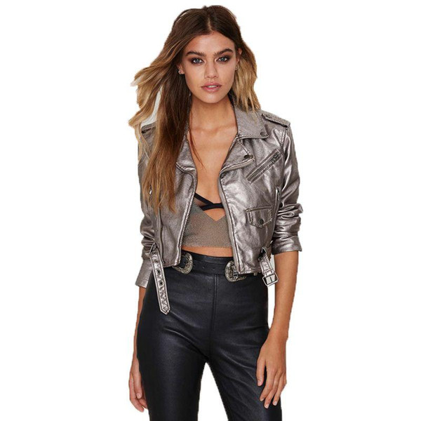 Streetwear Clothing for Women Punk Jackets Silver Solid Zipper Turn-down Collar Motorcycle Leather Fashion Jackets Spring Coat