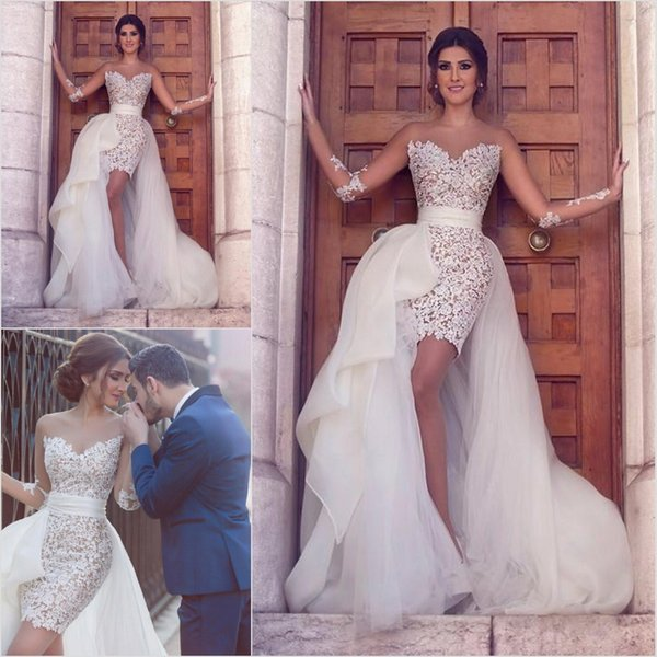 Sexy Short Lace Wedding Dresses With Detachable Train Sheer Neck Appliques Sheath Tulle Said Mhamad Beach Wedding Dress Bridal Wedding Gowns