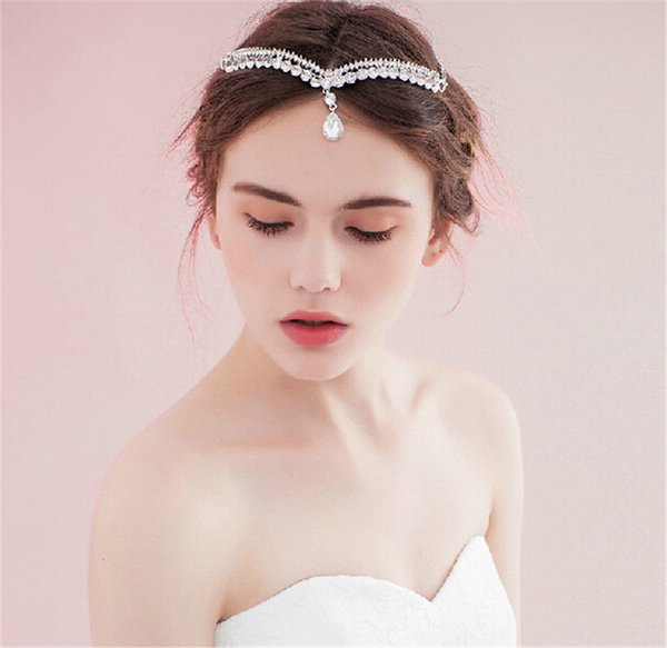 Wedding Bridal Forehead Headband Princess Crown Tiara Crystal