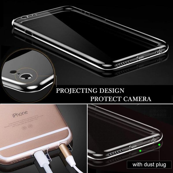 New design protective case for iphone 6 6S Plus silicone clear transparent ultra thin with dust plug projecting camera