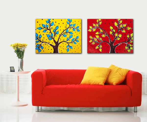 Modern Beautiful Abstract Tree Painting Giclee Print On Canvas Home Wall Decoration Art Set20023