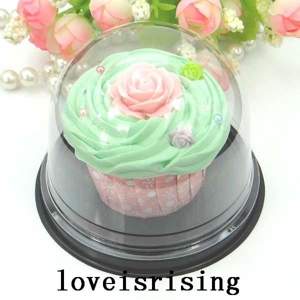High Quality--50pcs=25sets Clear Plastic Cupcake Boxes Favors Boxes Container Wedding Party Decor Gift Boxes Wedding Cupcake Cake Dome