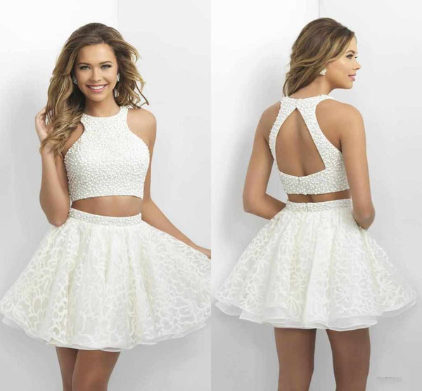 2016 Two Pieces Homecoming Dresses Little White Short Prom Dresses ...