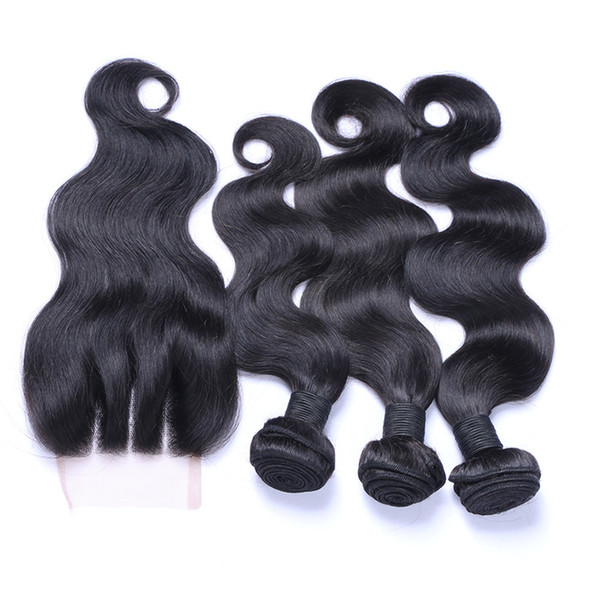 8A Peruvian Body Wave Hair Weaves With 4X4 Three Part Lace Closure With Hair Bundles Peruvian Body Wave Hair