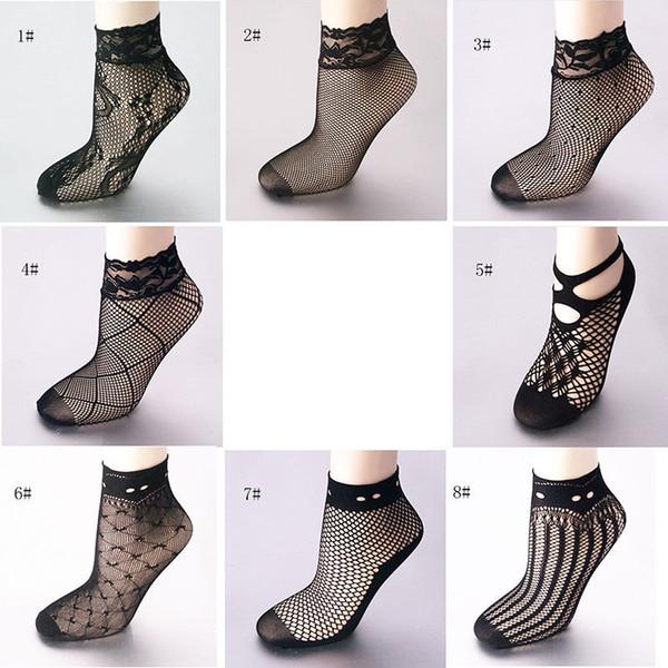 Al por mayor-1 par Mujeres de la manera Señoras de las muchachas Sexy Soft encaje negro Malla Malla Calcetines cortos de tobillo