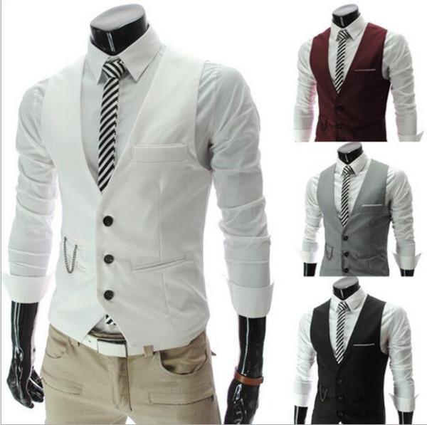 Vestito di affari dei nuovi uomini Gilet casual formale sottile Gilet Fit Abiti da sposa Costumi Nero Bianco Grigio Borgogna Spedizione gratuita