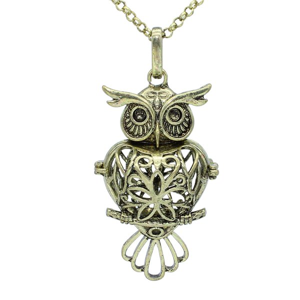 "Wholesale Bronze Owl Heart Hollow Locket Necklace For Aromatherapy Essential Oil Diffuser Pendant 30"" Chain Jewelry"
