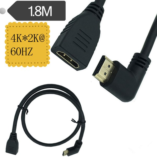 1.8M HDMI 2.0V 4K*2K @60HZ HDMI Right Angled A Male to HDMI A Female extension Cable