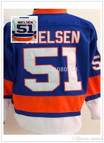Cheap 2016 Mens New York Hockey Jerseys Ice 51 Frans Nielsen Team Color Home Road Blue White Authentic 100% Sewing Logos Shirts