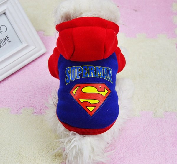 Hot Superman Cartoon Dog Clothes Design Pet Costume Clothing Cat Dog Puppy Hoodie Winter Coat for Dogs Warn Sweater Pet Christmas Gift