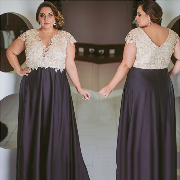 Formal Plus Size Prom Dresses Lace A Line Special Occasion Gowns V Neck  Evening Dress Sleeves Chic Plus Size Clothing Fashion Plus Size Clothing  From ...