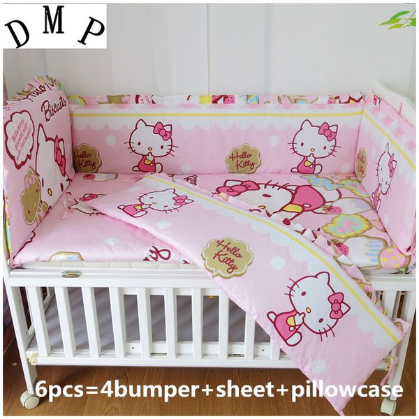 Promotion! 6PCS Cartoon baby cot bedding set curtain crib bumper baby cot sets baby bedclothes ,include(4bumpers+sheet+pillowcase)