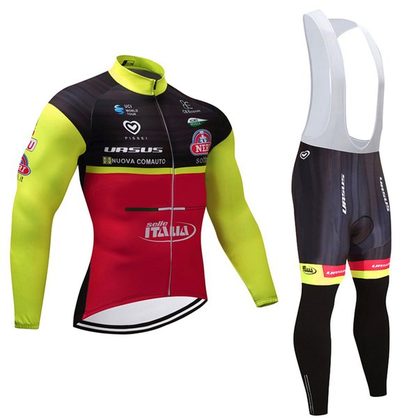 2017 pro team ITALIA long sleeve cycle jersey kit Ropa Ciclismo MTB winter thermal fleece cycling wear bike clothing suit cycle bib pants