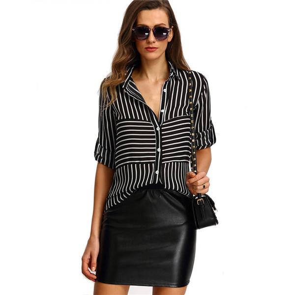 Women Long Sleeve Turn-down Collar Black Chiffon Blouse Shirts Work Striped Buttoned Shirts Long Sleeve Blouse