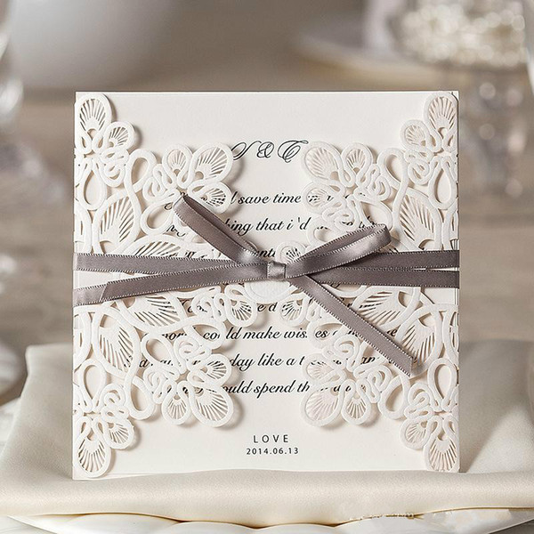 White Lace Floral Wedding Invitation Cards Customizable Hollow Wedding Party Printable Invitation Cards Ribbon with Envelope Sealed Card