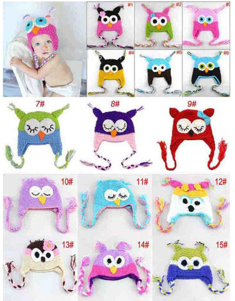 10pcs WINTER Hot sales Baby hand knitting owls hat Knitted hat Children's Caps 33 Color crochet hats for kids BOY AND GIRL HAT FREE SHIPPING